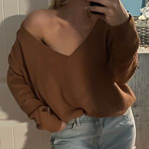 Urban Outfitters Brown Cut out shoulders sweater